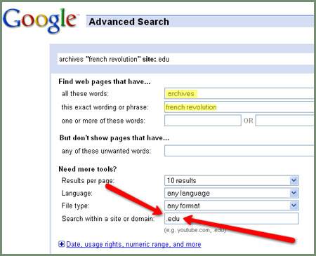 how to avance search on google