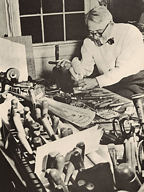 J. Gregory Wiggins in his studio, from The Work of J. Gregory Wiggins, Woodcarver, ©1970 Trustees of Pomfret School. Used with permission
