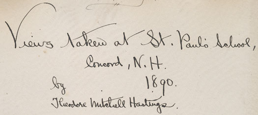 The inscription on the inside cover of the Hastings photo album