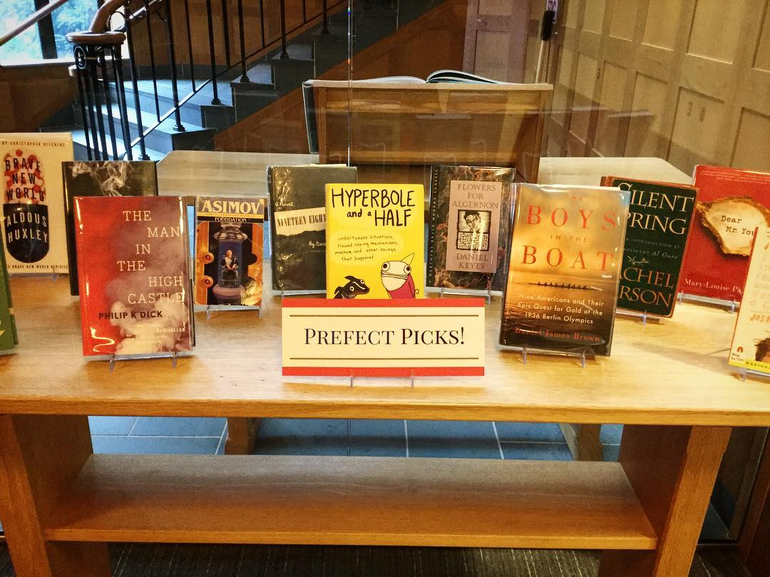 Our Library Prefects selected some of their favorite books for a new display in the lower level of Ohrstrom Library. Have a browse and check something out today! #ohrstromlibrary #bookdisplay #prefect #libraryprefect #favoritebook #iamsps