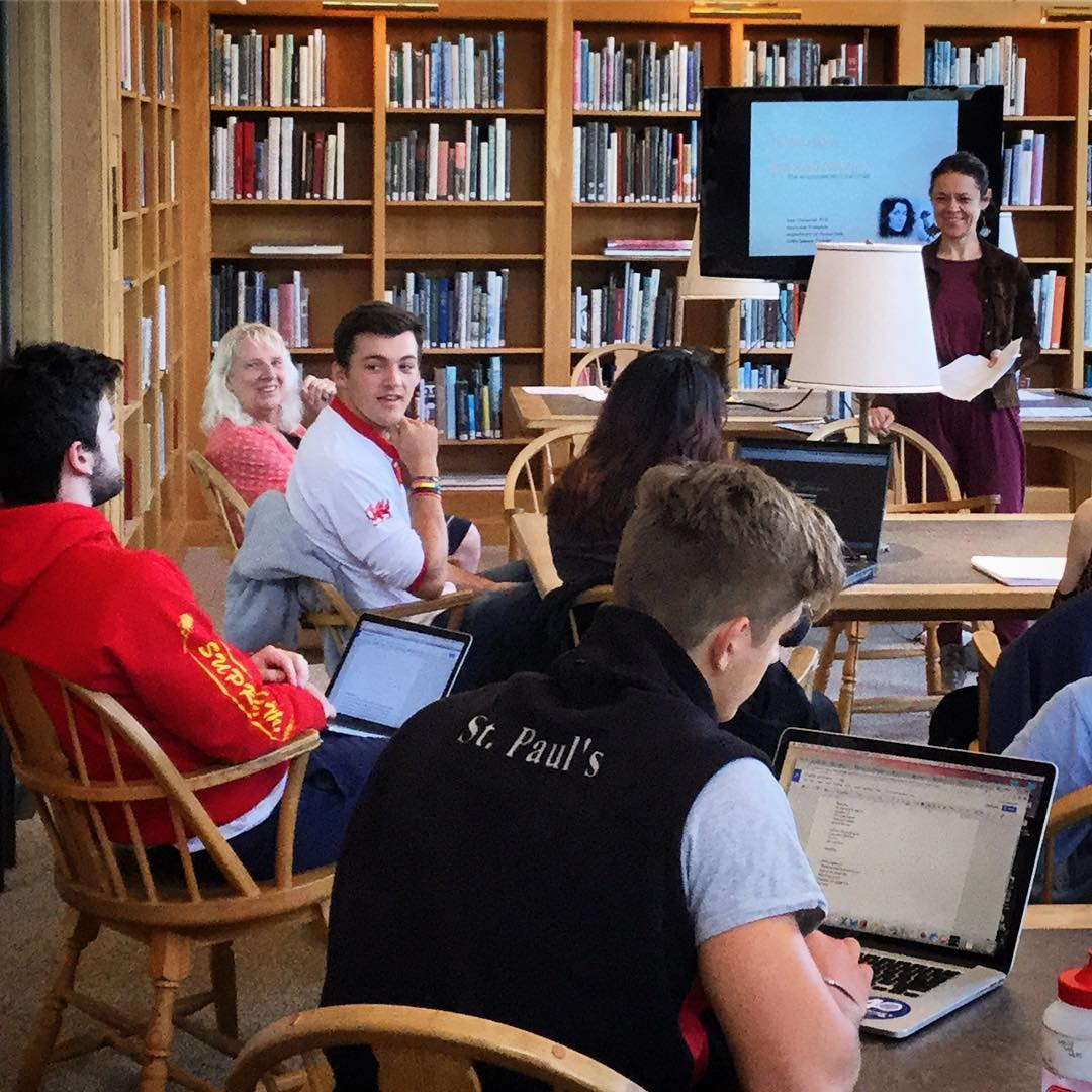 Visiting poet and translator Ewa Chrusciel gave a delightful presentation in Ohrstrom Library's Fine Arts Room to Ms. Jone's Creative Writing class this morning, discussing the subtleties of language and the challenges of translating poetry. #ohrstromlibrary #ewachrusciel #poet #translator #visitingauthor #creativewriting #fineartsroom #translation #iamsps #humanities
