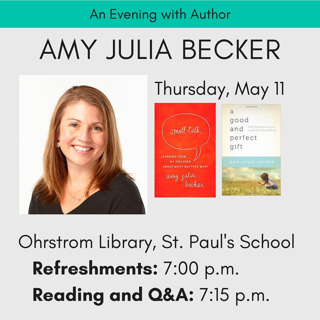 Join us this evening for visiting author Amy Julia Becker who will be reading from her books – Small Talk, A Good and Perfect Gift – and speaking on the topic of perfectionism. Come in for refreshments at 7:00, and the program begins at 7:15 pm. #ohrstromlibrary #amyjuliabecker #authorvisit #visitingauthor #perfectionism #smalltalk #agoodandperfectgift #iamsps