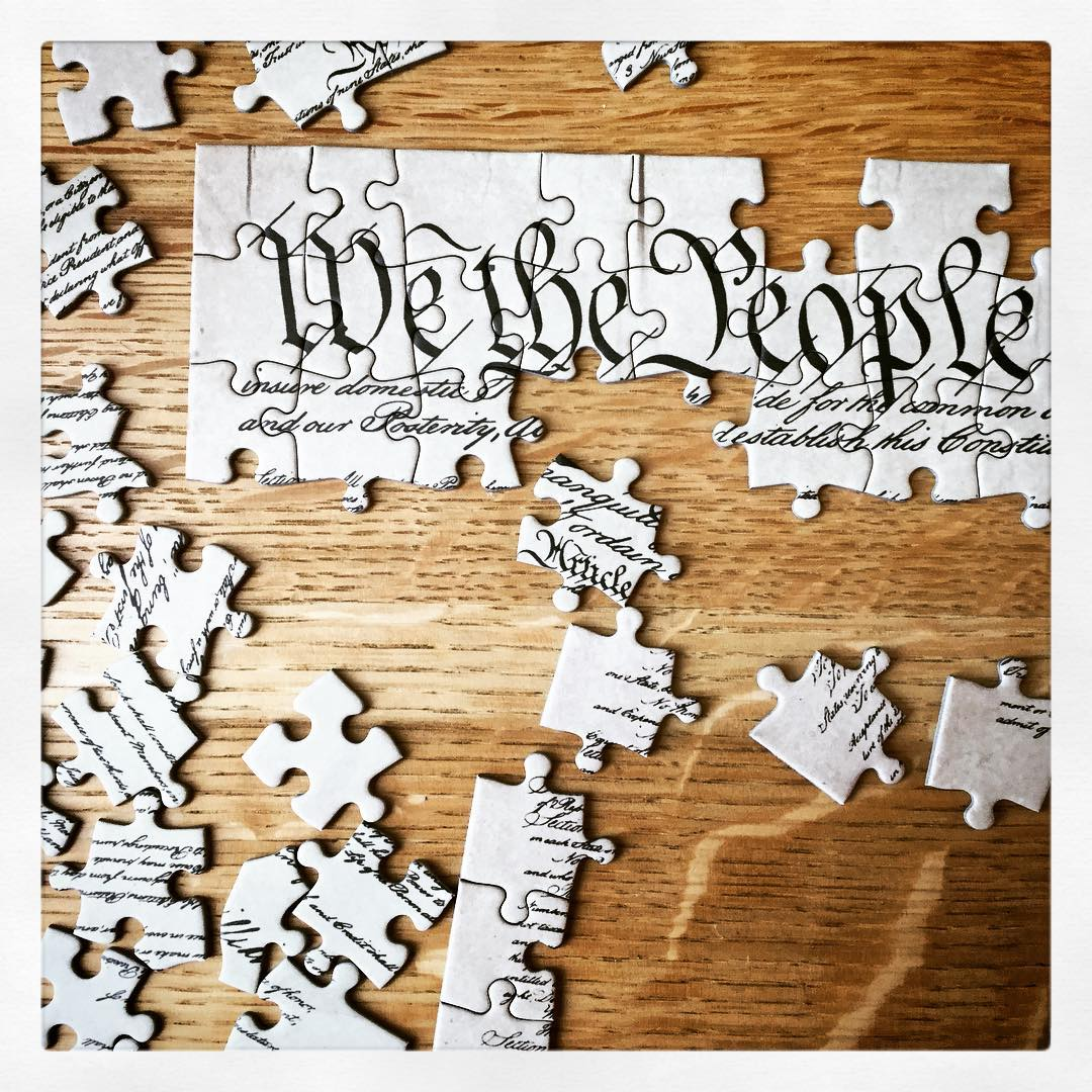 A new informative display is up in the Baker Reading Room about the United States Constitution, and it features this challenging puzzle of the U. S. Constitution itself. Stop by and help us piece it together and learn something about this important document in the process! #ohrstromlibrary #librarydisplay #usconstitution #unitedstatesconstitution #wethepeople #puzzle #puzzlepiece #iamsps