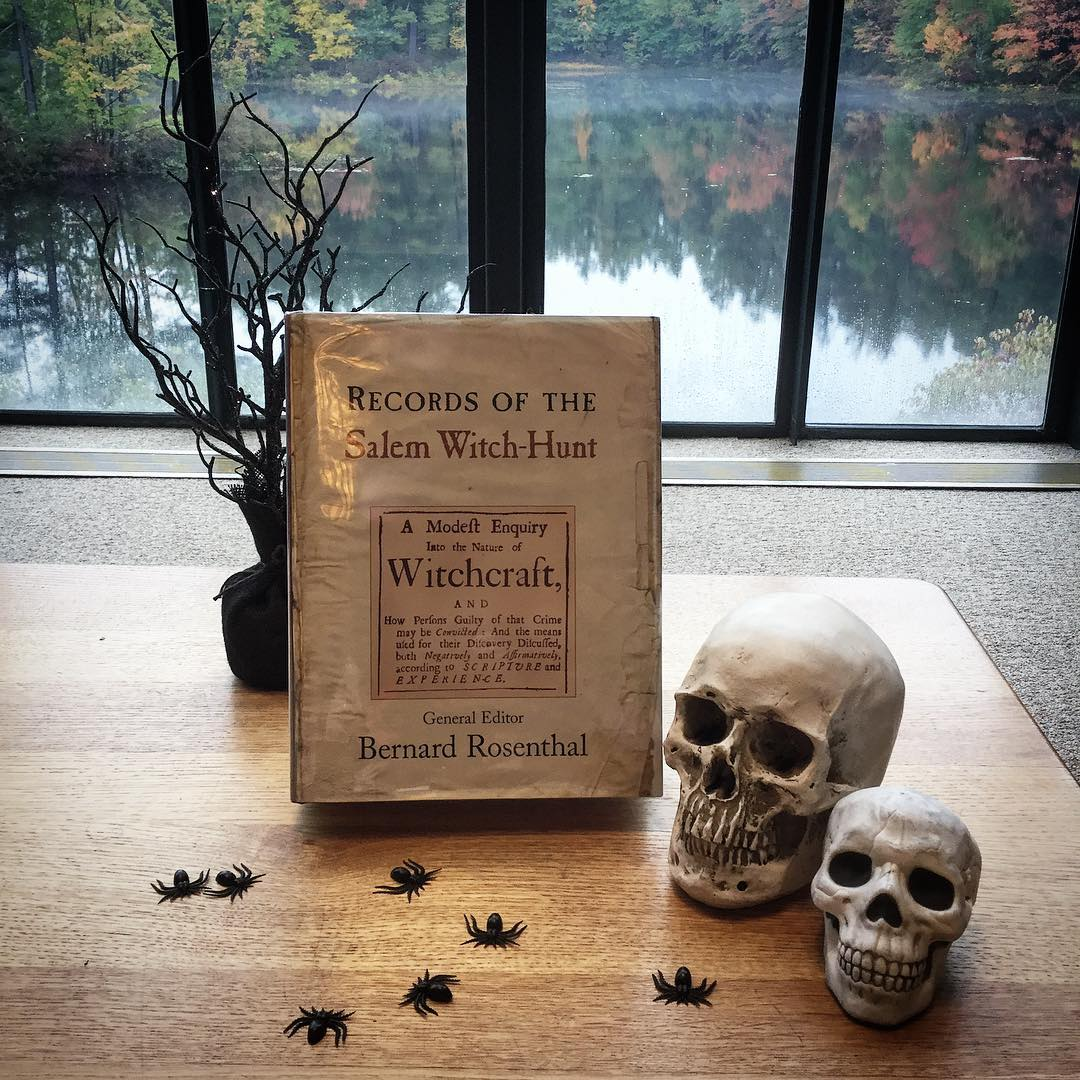 We are making preparations for tomorrow evening's event with historian Margo Burns, who will be speaking in the library on the Capital Crime of Witchcraft: What the Primary Sources Tell Us. The program starts at 7:00 pm – all are welcome to join us! #ohrstromlibrary #libraryevent #speaker #margoburns #witchcraft #witchhunt #skull #primarysource #librariesofinstagram